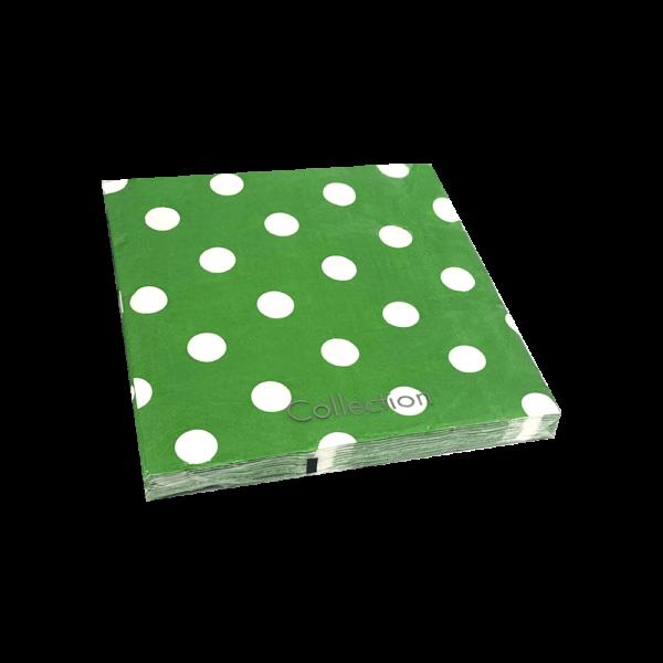 servilletas de lunares verdes de papel para fiestas