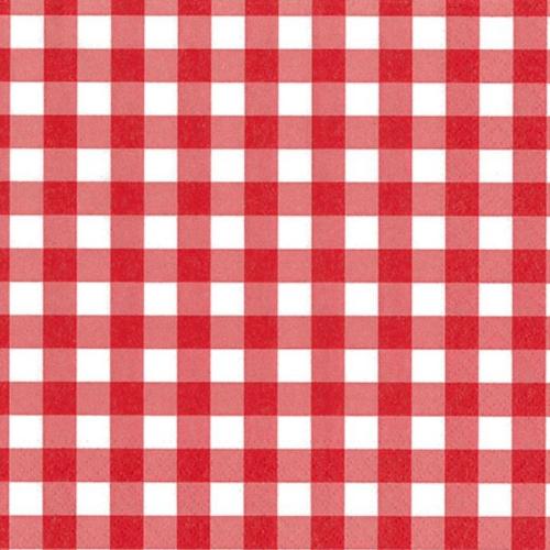 Servilletas cuadro vichy color rojo 33 x 33 cm. (100 uds.)